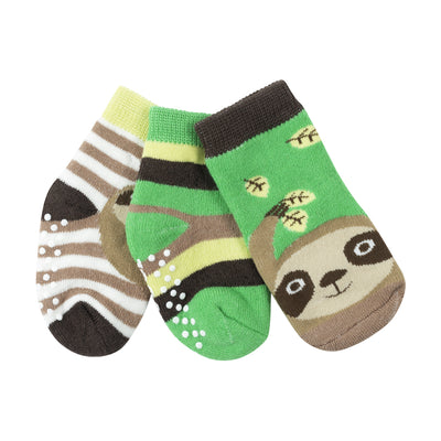 ZOOCCHINI 3 Piece Comfort Terry Socks Set - Silas the Sloth