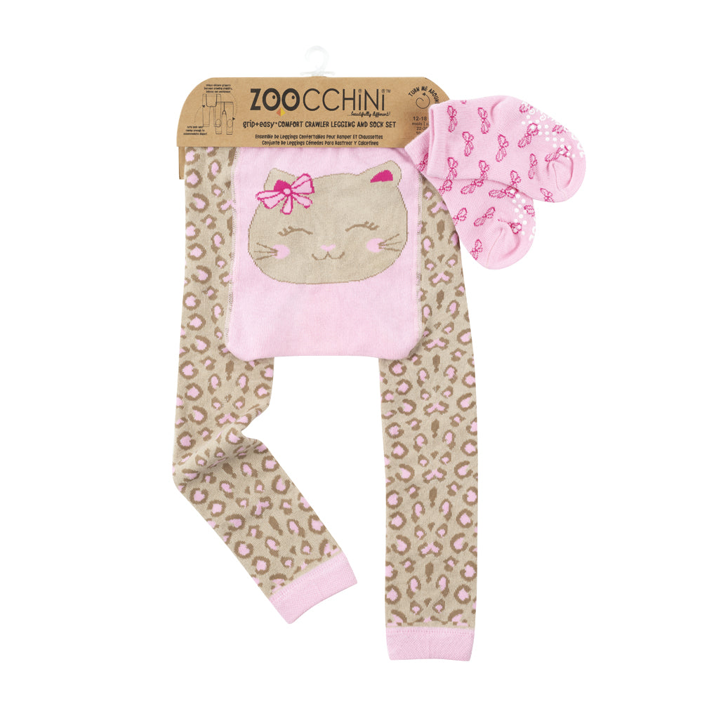 ZOOCCHINI grip+easy Comfort Crawler Legging & Socks Set - Kallie the Kitten