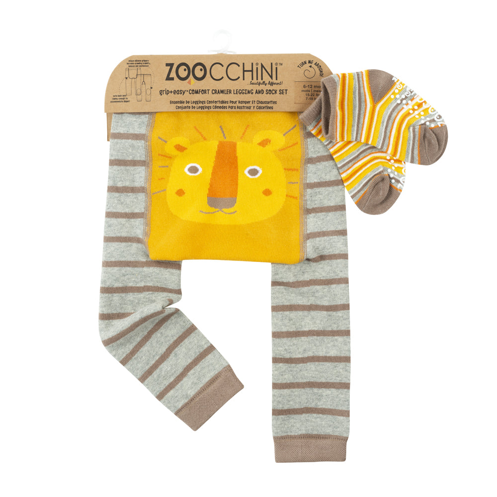 ZOOCCHINI grip+easy Comfort Crawler Legging & Socks Set - Leo the Lion