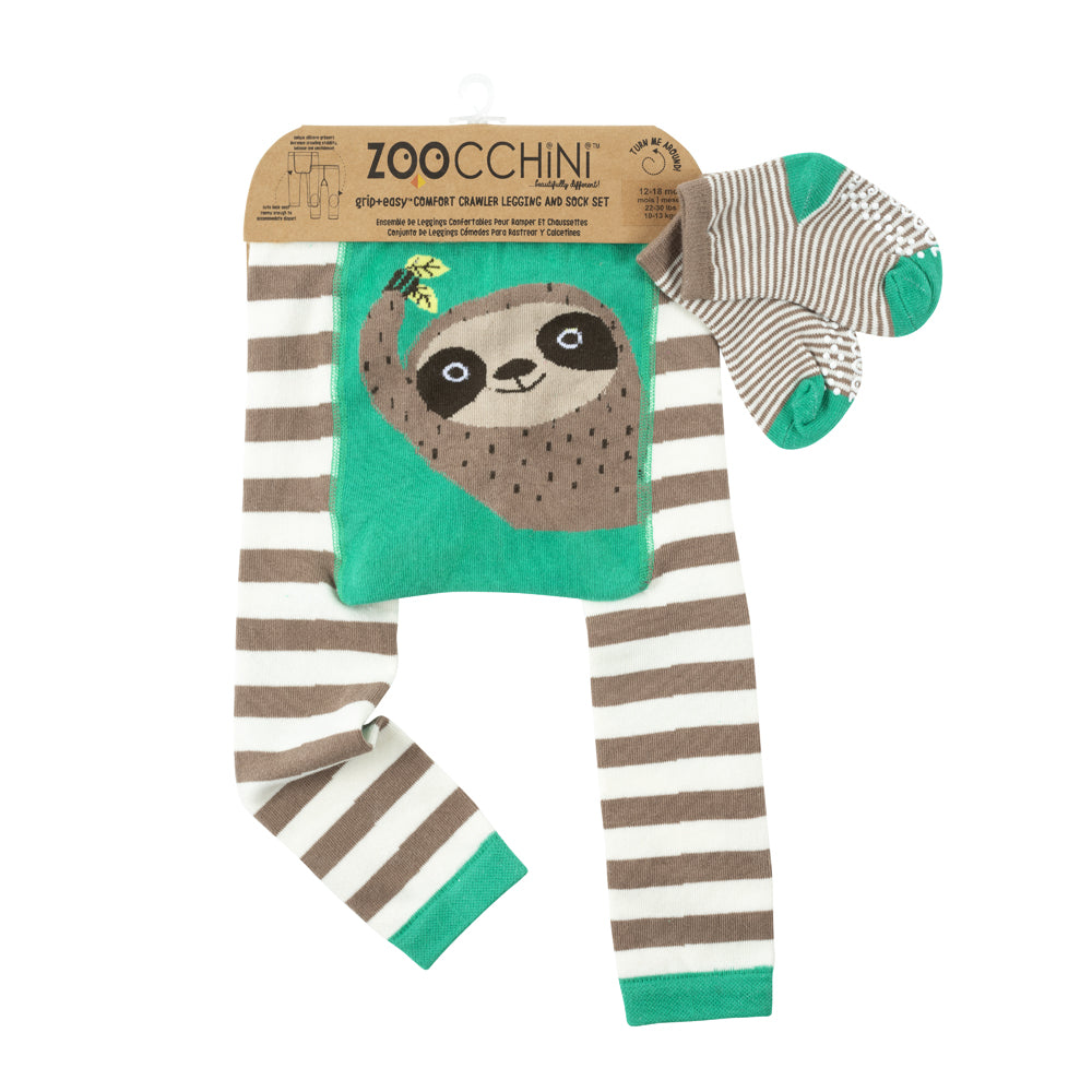 ZOOCCHINI grip+easy Comfort Crawler Legging & Socks Set - Silas the Sloth