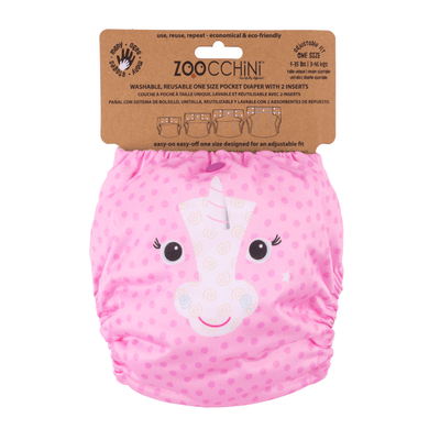 ZOOCCHINI Baby/Toddler One Size Reusable Pocket Diaper w/2 Inserts - Allie the Alicorn