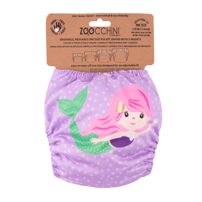 ZOOCCHINI Baby/Toddler One Size Reusable Pocket Diaper w/2 Inserts - Marietta the Mermaid