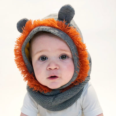 ZOOCCHINI Baby/Toddler Knit Balaclava Hat - Leo the Lion