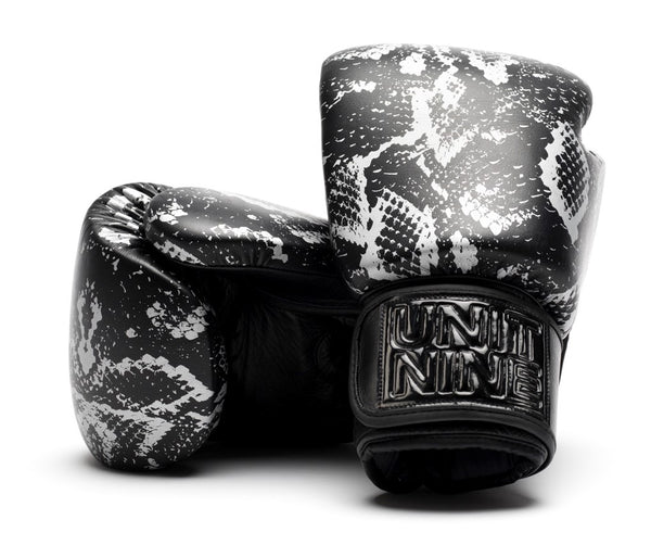 UNIT NINE Silver python boxing gloves