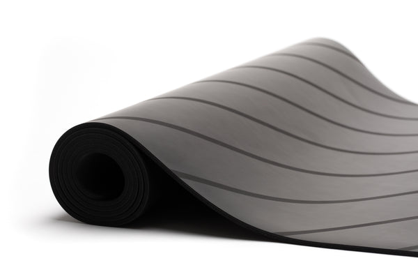 UNIT NINE charcoal stripe rubber yoga mat & ADD YOUR INITIALS
