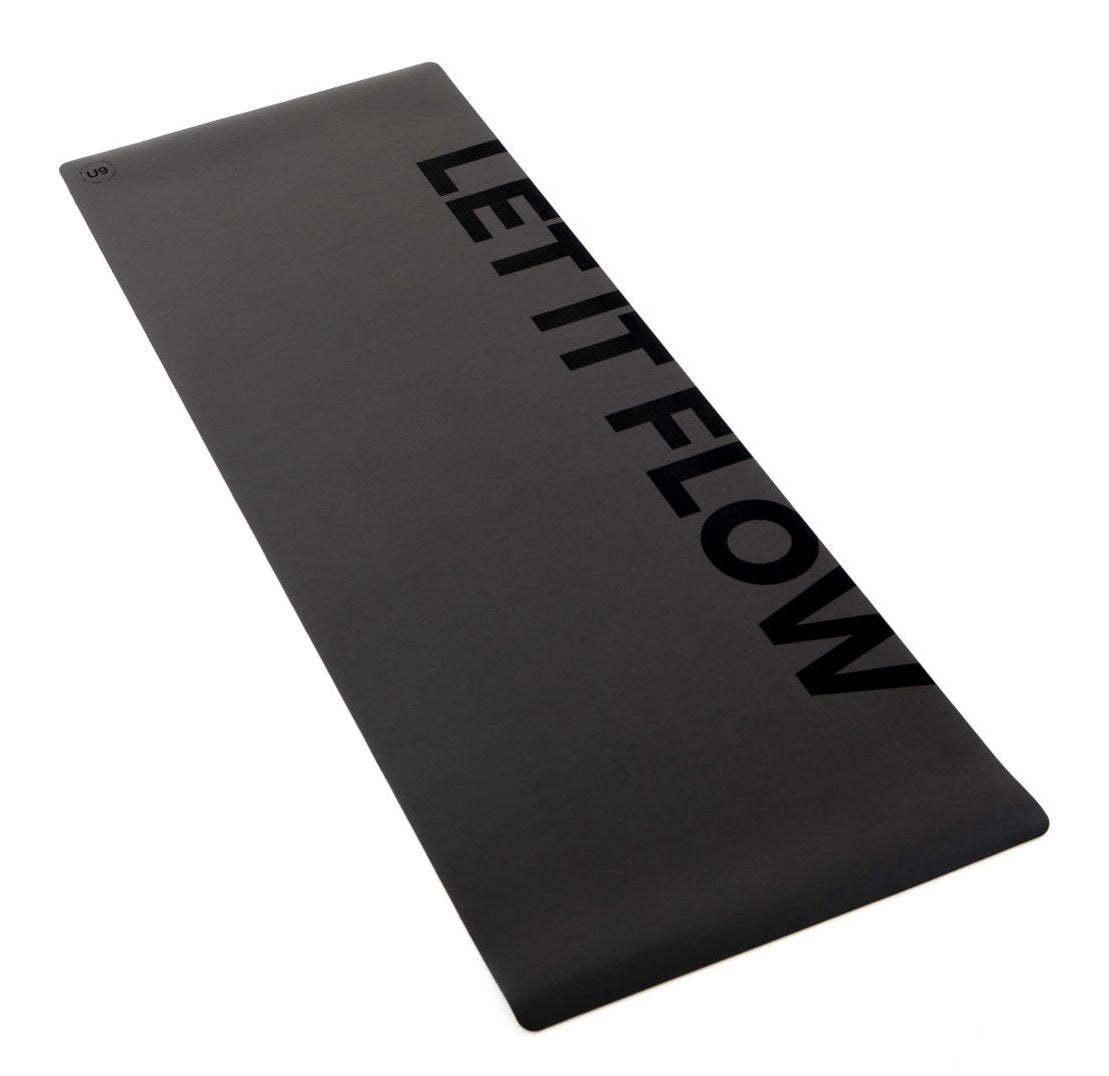 "UNIT NINE Charcoal ""LET IT FLOW"" Rubber Yoga Mat & ADD YOUR INITIALS"