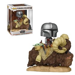 Funko Pop Star Wars: The Mandalorian - The Mandalorian On Bantha with The Child In Bag (Deluxe)