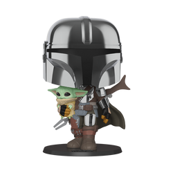 Funko Pop Star Wars: The Mandalorian - Mandalorian with The Child (Chrome) (10-Inch)
