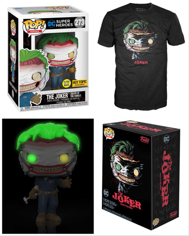 Funko Pop Heroes: DC Super Heroes - Joker (Death Of The Family) (Glow In The Dark) and Medium Tee (Hot Topic)
