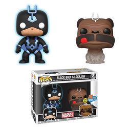 Funko Pop Marvel: Marvel Comics - Black Bolt (Blue - Glow) & Lockjaw (Teleporting) (PX) (2018 SDCC Official Sticker) (2-Pack)