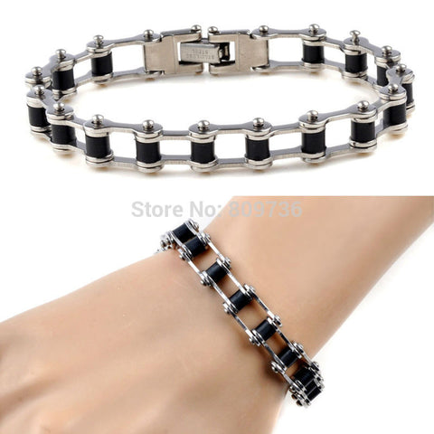 STAINLESS STEEL SILVER BIKE CHAIN BRACELET - SPECIAL OFFER
