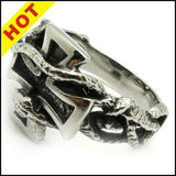 STAINLESS STEEL SILVER SNAKE TWINE CROSS RING - SPECIAL OFFER