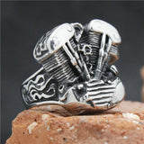STAINLESS STEEL SILVER BIKER ENGINE RING - SPECIAL OFFER - RETAIL