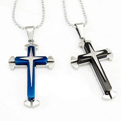 BLUE BLACK SILVER STAINLESS STEEL CROSS W/ NECKLACE - RETAIL