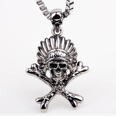 HIGH QUALITY SILVER ANTIQUE INDIAN SKULL HEAD PENDANT/ NECKLACE - FREE OFFER - Free + Shipping