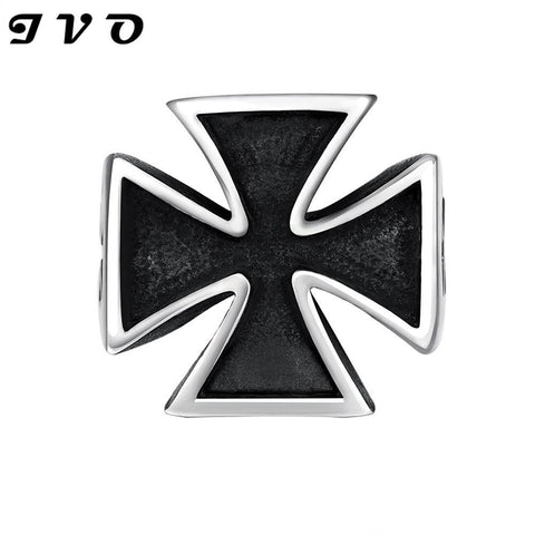 STAINLESS STEEL BLACK CROSS GOTHIC RING - SPECIAL OFFER