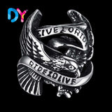 STAINLESS STEEL CLASSIC LIVE TO RIDE EAGLE BIKER RING - RETAIL