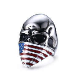 American Infidel Flag Mask Skull Ring