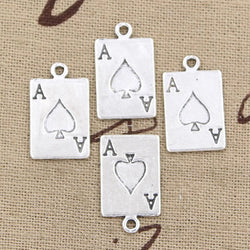 20PCS ACE OF SPADES VINTAGE TIBETAN SILVER DIY FOR BRACELET NECKLACE - RETAIL