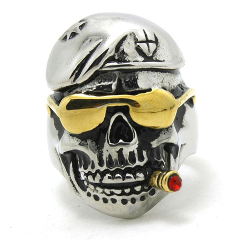 GOLDEN PIRATE GOTHIC PUNK SKULL RING - SPECIAL OFFER