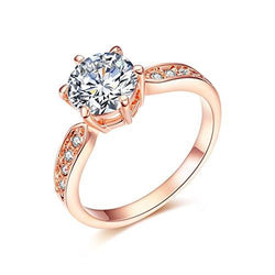 18k Rose Gold Plated 1.5ct Heart & Arrows Cut Cubic Zirconia Solitaire Ring