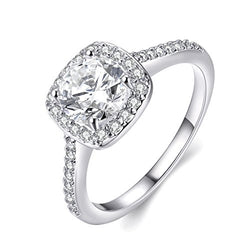 Women's Eternity Love 18K White Gold Plated Cut CZ Crystal Ring