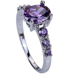 Wedding Bridal Rhinestone Purple Engagement Ring