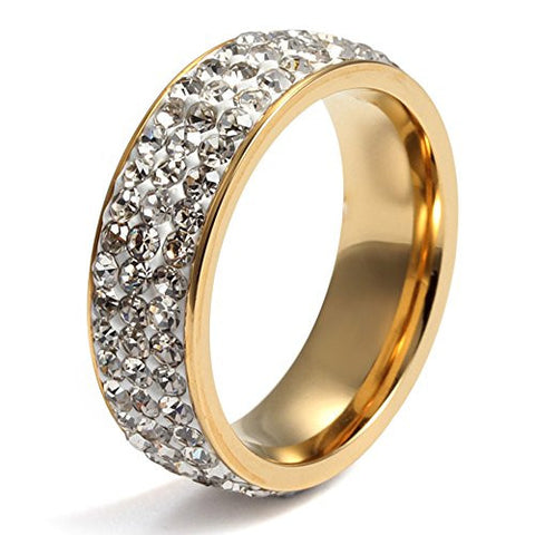 Stainless Steel Gold Eternity Ring CZ Cubic Zirconia