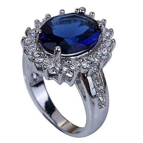 SILVER PLATED SAPPHIRE RING