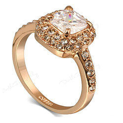 Rose Gold Cubic Zirconia AAA CZ Diamond Wedding Engagement Ring