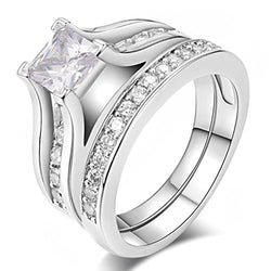 Womens Wedding Engagement Bands Ring - 18K White Gold Plated Crystal Rings