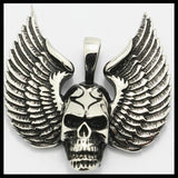 SILVER STAINLESS STEEL SKULL OVER EAGLE WINGS PENDANT - SPECIAL OFFER