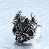 NEW STAINLESS STEEL DOUBLE SNAKE BIKER ENGINE RING - SPECIAL OFFER - RETAIL