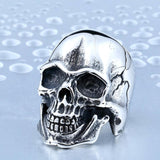 STAINLESS STEEL CRACKED SKULL BIKER RING - SPECIAL OFFER