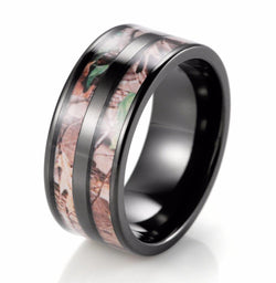 BLACK DOUBLE BARREL REALTREE CAMOUFLAGE CAMO TITANIUM RING - RETAIL