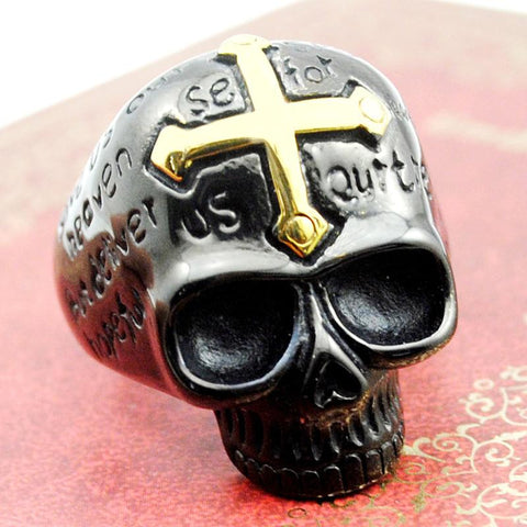 GOLD CROSS BLACK SKULL RING - SPECIAL OFFER