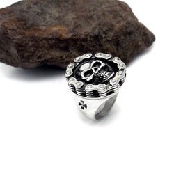 CHAIN LINK SKULL RING STAINLESS STEEL