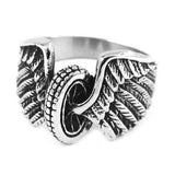 STAINLESS STEEL EAGLE WINGS AND MOTORCYCLE TIRE BIKER RING - RETAIL