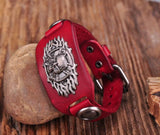 RED TRIBAL STUDDED LEATHER WRISTBAND CUFF - SPECIAL OFFER