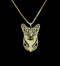 GOLD & SILVER WELSH CORGI DOG PENDANT W/ NECKLACE - FREE OFFER - Free + Shipping