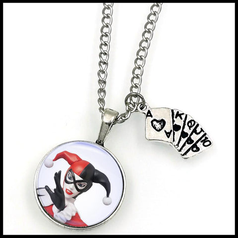 HARLEY QUINN ACE OF SPADES NECKLACE W/CHAIN