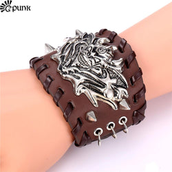 BROWN & BLACK INDIAN BIKER LEATHER WRISTBAND CUFF - SPECIAL OFFER