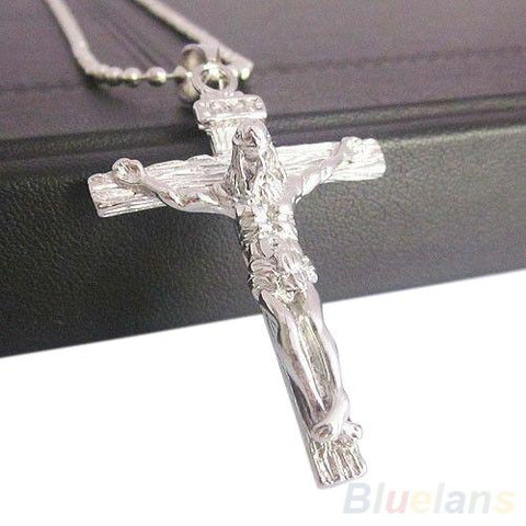 STAINLESS STEEL SILVER JESUS CROSS PENDANT W/ NECKLACE - FREE OFFER - Free + Shipping