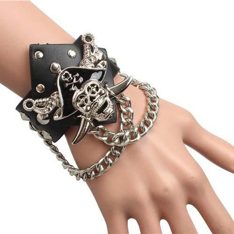 BLACK STUDDED LEATHER METAL PIRATE SKULL WRISTBAND - SPECIAL OFFER