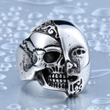 STAINLESS STEEL TWO FACE PUNK RING