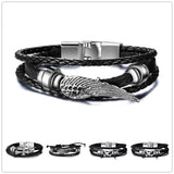 STAINLESS STEEL & BLACK LEATHER BRACELET - SPECIAL OFFER