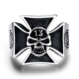 TITANIUM STAINLESS STEEL BLACK SKULL CROSS BIKER RING - SPECIAL OFFER