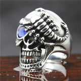 BLUE OR RED EYED SILVER SCORPION SKULL RING - SPECIAL OFFER