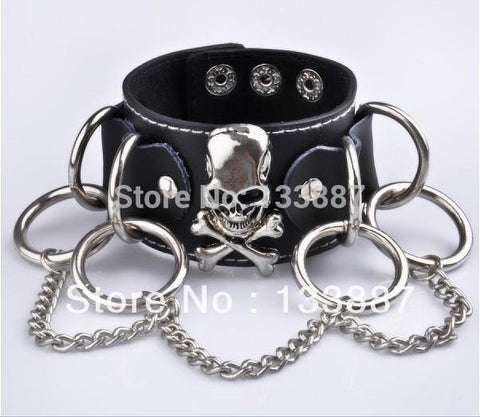 BLACK STUDDED LEATHER SKULL WRISTBAND - SPECIAL OFFER