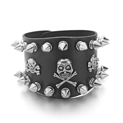 LEATHER SKULL BLACK BRACELET WITH SPIKES - SPECIAL OFFER